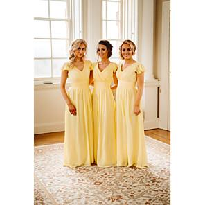 cheap Bridesmaid Dresses-A-Line V Neck Floor Length Chiffon Bridesmaid Dress with Cascading Ruffles / Ruching