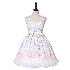 cheap Lolita Dresses-Lolita Sweet Lolita Classic Lolita Cosplay Costume Masquerade JSK / Jumper Skirt Women's Girls' Japanese Cosplay Costumes White Print Bowknot Flower Flare Cuff Sleeve Sleeveless Knee Length / Dress