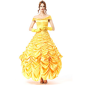 cheap Movie & TV Theme Costumes-Princess Belle Dress Cosplay Costume Masquerade Costume Adults' Women's Party / Evening Halloween Christmas Halloween Carnival Festival / Holiday Polyster Yellow Women's Carnival Costumes Holiday
