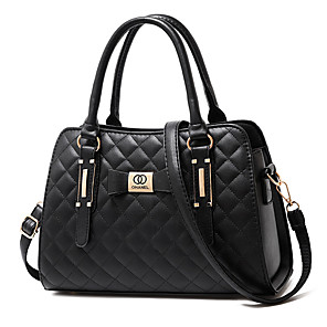 cheap Handbag & Totes-Women's Zipper / Tassel PU(Polyurethane) / PU Top Handle Bag Solid Color Black / Wine / White / Fall & Winter