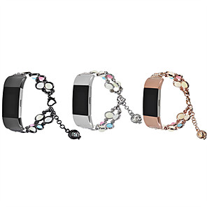 cheap Smartwatch Bands-For Fitbit Charge 2 Luminous Bead Watch Strap Jewelry Metal Wristband