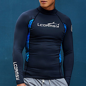 cheap Wetsuits, Diving Suits & Rash Guard Shirts-LCDRMSY Men's Rash Guard Sun Shirt Swim Shirt UV Sun Protection Quick Dry Long Sleeve Swimming Diving Surfing Painting Spring &  Fall Summer / Micro-elastic