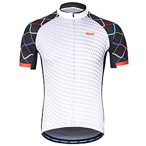 cheap Cycling Jerseys-Arsuxeo Men's Short Sleeve Cycling Jersey White Bike Jersey Mountain Bike MTB Road Bike Cycling Reflective Strips Sweat-wicking Sports Clothing Apparel