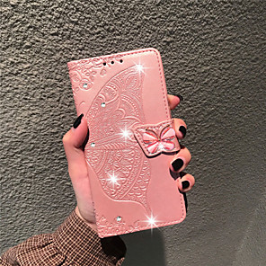 cheap Other Phone Case-Case For LG LG Stylo 4 / LG Q7 / LG K40 Wallet / Card Holder / Rhinestone Full Body Cases Butterfly / Flower Soft PU Leather