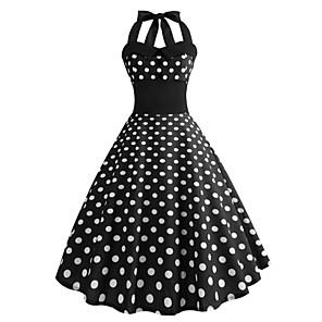 cheap Historical & Vintage Costumes-Audrey Hepburn Country Girl Polka Dots Retro Vintage 1950s Rockabilly Summer Dress Masquerade Women's Costume Black Vintage Cosplay Homecoming School Office Sleeveless Medium Length A-Line