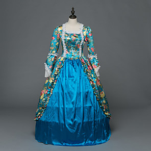 cheap Historical & Vintage Costumes-Princess Maria Antonietta Floral Style Rococo Victorian Renaissance Dress Party Costume Masquerade Women's Lace Costume Blue Vintage Cosplay Christmas Halloween Party / Evening 3/4 Length Sleeve