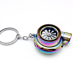 cheap Car Pendants & Ornaments-Creative Electric Turbo Lighter Key Chain USB Rechargeable Cigarette Lighter Key Ring with LED Light and Sound