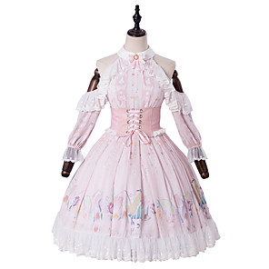 cheap Lolita Dresses-Artistic / Retro Princess Lolita Cute Dress Cosplay Costume Halloween Props Party Costume All PU Leather Japanese Cosplay Costumes Light Pink Print Flower / Floral Lace Bishop Sleeve 3/4 Length Sleeve