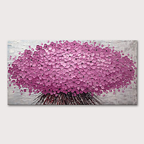 cheap Abstract Paintings-Oil Painting Hand Painted - Abstract Floral / Botanical Modern Stretched Canvas