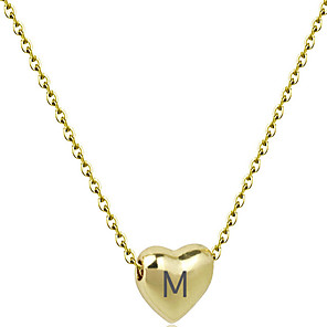 cheap Engraved Bracelets-Personalized Customized Necklace Name Necklace Stainless Steel Engraved Heart Gift Promise Festival Heart Shape 1pcs Gold Silver / Laser Engraving