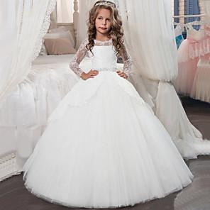cheap Latin Dancewear-Princess Floor Length Christmas / Birthday / First Communion Flower Girl Dresses - Chiffon / Lace / Tulle Long Sleeve Jewel Neck with Lace / Crystals / Rhinestones