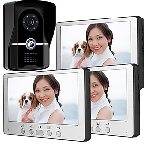 cheap Video Door Phone Systems-815FG13 Ultra-thin 7-inch wired video doorbell HD villa one for three visual intercom outdoor unit night vision rain unlock function