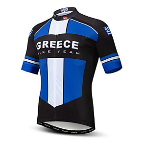 cheap Cycling Jerseys-21Grams Greece National Flag Men's Short Sleeve Cycling Jersey - Sky Blue+White Bike Top UV Resistant Breathable Moisture Wicking Sports Terylene Mountain Bike MTB Road Bike Cycling Clothing Apparel