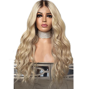 cheap Synthetic Lace Wigs-Synthetic Lace Front Wig Wavy Middle Part Lace Front Wig Blonde Ombre Long Black / Gold Synthetic Hair 18-24 inch Women's Adjustable Heat Resistant Party Blonde Ombre