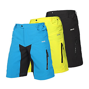 cheap Hiking Trousers & Shorts-Arsuxeo Men's Cycling MTB Shorts Spandex Polyester Bike Shorts Baggy Shorts MTB Shorts Breathable Quick Dry Anatomic Design Sports Patchwork Light Yellow / Black / Light Blue Mountain Bike MTB Road