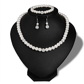 cheap Hair Jewelry-Women's Pearl Bridal Jewelry Sets Retro Love Stylish Elegant Cute Imitation Pearl Earrings Jewelry Silver For Wedding Party Daily 1 set