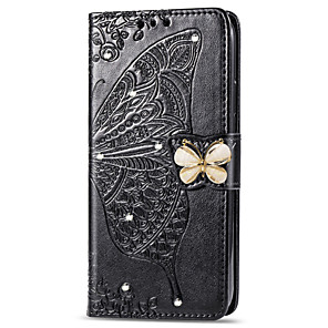 cheap Huawei Case-Case For Huawei Huawei P smart / Huawei P Smart 2019 / Huawei P Smart Plus 2019 Wallet / Card Holder / Rhinestone Full Body Cases Butterfly / Flower Soft PU Leather