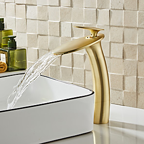cheap Bathroom Sink Faucets-Brushed Gold Waterfall Bathroom Sink Faucet with Supply Hose,Single Handle Single Hole Vessel Lavatory Faucet,Slanted Body Basin Mixer Tap Tall Body Commercial
