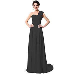 cheap Bridesmaid Dresses-A-Line One Shoulder Sweep / Brush Train Chiffon Bridesmaid Dress with Ruching