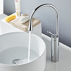 cheap Bathroom Sink Faucets-Bathroom Sink Faucet - Widespread Black Free Standing Single Handle One HoleBath Taps