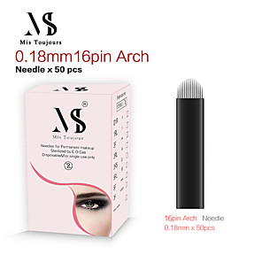 cheap Permanent Makeup Kits-50pcs Manual Permanent Makeup Needles 0.18mm 16U Shape Tebori Tattoo Blades For Microblading