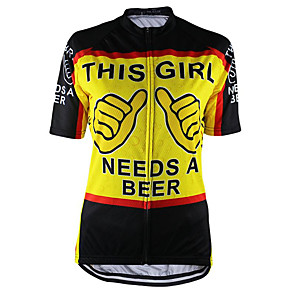 cheap Cycling Jerseys-21Grams Women's Short Sleeve Cycling Jersey Black / Yellow Oktoberfest Beer Bike Top Mountain Bike MTB Road Bike Cycling UV Resistant Breathable Quick Dry Sports Clothing Apparel / Micro-elastic
