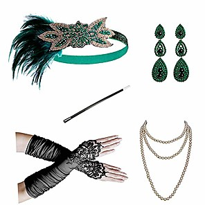 cheap Historical & Vintage Costumes-Charleston Vintage 1920s The Great Gatsby Costume Accessory Sets Flapper Headband Women's Feather Costume Red / black / Green and Black / Golden+Black Vintage Cosplay Festival