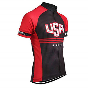 cheap Cycling Jerseys-21Grams American / USA National Flag Men's Short Sleeve Cycling Jersey - Black / Red Bike Top UV Resistant Breathable Moisture Wicking Sports Terylene Mountain Bike MTB Road Bike Cycling Clothing