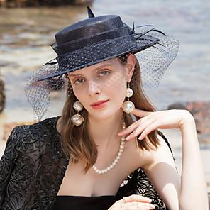 cheap Fascinators-100% Linen Fascinators / Hats with Feather 1pc Wedding / Party / Evening Headpiece