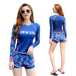 cheap Wetsuits, Diving Suits & Rash Guard Shirts-Women's Rash Guard Dive Skin Suit Swimwear Breathable Quick Dry Long Sleeve 2-Piece - Swimming Surfing Water Sports Painting Autumn / Fall Spring Summer / Micro-elastic