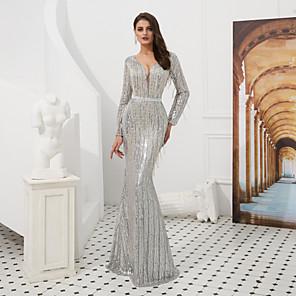 cheap Evening Dresses-Mermaid / Trumpet Sparkle White Engagement Formal Evening Dress V Neck Long Sleeve Floor Length Sequined with Sequin Tassel 2020