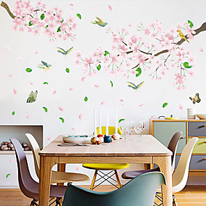 cheap Wall Stickers-Pink Flowers And Birds Wall Stickers - 3D Wall Stickers Floral / Botanical / Landscape Study Room / Office / Dining Room / Kitchen