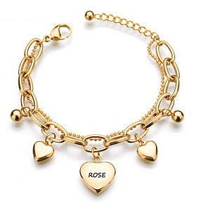 cheap Engraved Bracelets-Personalized Customized Bracelet Stainless Steel Classic Name Engraved Gift Promise Festival Heart Shape 1pcs Gold / Laser Engraving