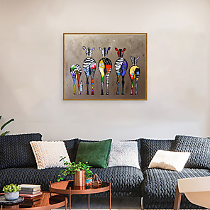 cheap Framed Arts-Framed Art Print Framed Set - Abstract Animals PS Oil Painting Wall Art