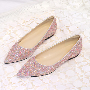 cheap Women's Heels-Women's Wedding Shoes Glitter Crystal Sequined Jeweled Flat Heel Pointed Toe Synthetics Classic / Sweet Spring & Summer Pink / Gold / Silver