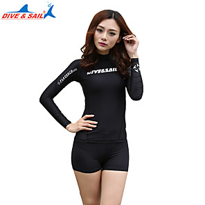 cheap Wetsuits, Diving Suits & Rash Guard Shirts-Women's Wetsuit Top 1.8mm Elastane Top Quick Dry Long Sleeve Diving Snorkeling Solid Colored Summer / Stretchy