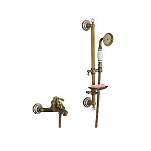 cheap Bathtub Faucets-Bathtub Faucet Brushed / Antique Copper / Rose Gold Wall Installation Ceramic Valve Bath Shower Mixer Taps / Brass / Two Handles Two Holes