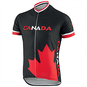cheap Cycling Jerseys-21Grams Canada National Flag Men's Short Sleeve Cycling Jersey - Black / Red Bike Top UV Resistant Breathable Moisture Wicking Sports Terylene Mountain Bike MTB Road Bike Cycling Clothing Apparel