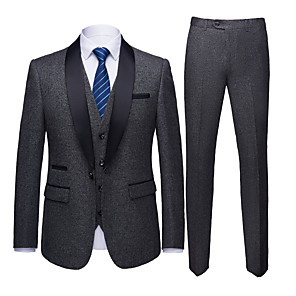 cheap Custom Tuxedo-Tuxedos Standard Fit Shawl Collar Single Breasted One-button Polyester Solid Colored