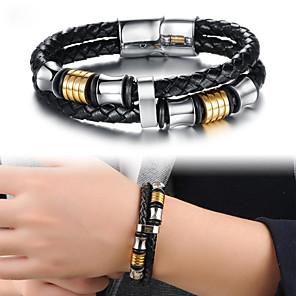 cheap Pendant Necklaces-Men's Leather Bracelet Link Bracelet Crossover Tire Stylish Unique Design Punk Trendy Titanium Steel Bracelet Jewelry Black For Party Gift Daily Carnival Club