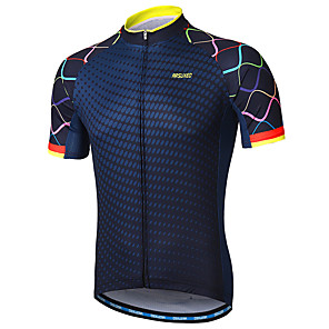 cheap Cycling Jerseys-Arsuxeo Men's Short Sleeve Cycling Jersey Navy Purple Yellow Gradient Bike Jersey Mountain Bike MTB Road Bike Cycling Reflective Strips Sweat-wicking Sports Clothing Apparel