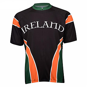 cheap Cycling Jerseys-21Grams Ireland Men's Short Sleeve Cycling Jersey - Black / Orange Bike Top UV Resistant Breathable Quick Dry Sports Terylene Mountain Bike MTB Road Bike Cycling Clothing Apparel / Micro-elastic