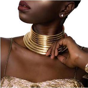 povoljno Modne ogrlice-Žene Pozlaćene Geometrijski Sretan Vjera Etnikai Smola Tekstil plastika Zlato Srebro 40 cm Ogrlice Jewelry 1pc Za Dnevno Karneval