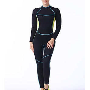 cheap Wetsuits, Diving Suits & Rash Guard Shirts-LIFURIOUS Women's Full Wetsuit 3mm SCR Neoprene Diving Suit Thermal / Warm High Elasticity Long Sleeve Back Zip - Diving Water Sports Solid Colored Spring &  Fall Summer