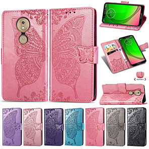 cheap Other Phone Case-Case For Motorola Moto G7 / Moto G7 Power Embossed / Flip / with Stand Full Body Cases Flower / Butterfly Soft PU Leather for Moto G7 / Moto G7 Play / Moto G7 Power