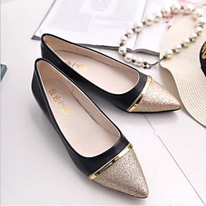 cheap Women's Flats-Women's Flats Glitter Crystal Sequined Jeweled Flat Heel PU Spring &  Fall Black / Beige