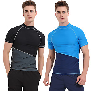 cheap Wetsuits, Diving Suits & Rash Guard Shirts-SBART Men's Rash Guard Sun Shirt Swim Shirt Breathable Quick Dry Long Sleeve Swimming Surfing Snorkeling Patchwork Autumn / Fall Spring Summer / Micro-elastic