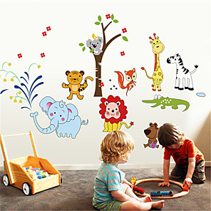 cheap Wall Stickers-Animals Wall Stickers Animal Wall Stickers Decorative Wall Stickers, PVC Home Decoration Wall Decal Wall Decoration 1pc / Removable