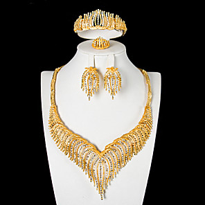 cheap Jewelry Sets-Women's White Bridal Jewelry Sets Geometrical Luxury Classic Earrings Jewelry Gold For Wedding Party Festival 1 set