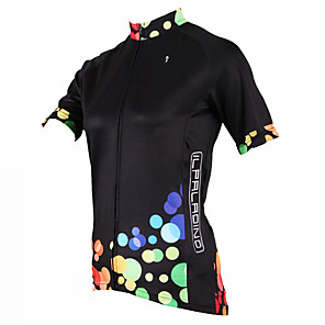 cheap Cycling Jerseys-ILPALADINO Women's Short Sleeve Cycling Jersey Polyester Black Polka Dot Plus Size Bike Jersey Top Mountain Bike MTB Road Bike Cycling Breathable Quick Dry Ultraviolet Resistant Sports Clothing